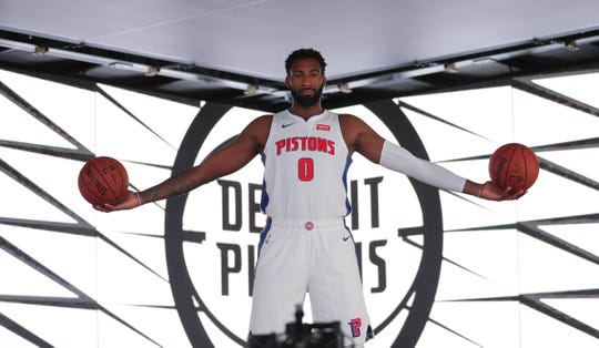 Andre Drummond during media day at Little Caesars Arena, Sept. 24, 2018.