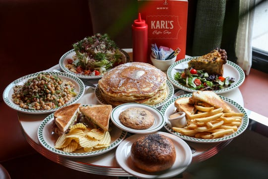 A spread of food from Karl's, chef Kate Williams' classic American diner on the second floor of The Siren Hotel in downtown Detroit.