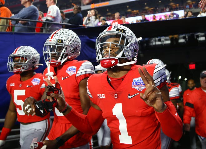 Ohio State's Jeff Okudah during the College Football Playoff semifinal Fiesta Bowl against Clemson on Dec. 28, 2019 in Glendale, Ariz.