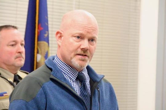 Mike Larsen, Allegan County Sheriff's Office Undersheriff, talks with the media on Wednesday, Feb. 5, 2020, about the possible discovery of the body of Aundria Michelle Bowman, who's been missing since 1989.