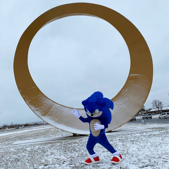 Sonic the Hedgehog appears in front of the Halo in Sterling Heights on Feb. 6, 2020.