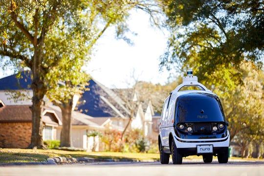 Nuro's self-driving R2 on a neighborhood street.