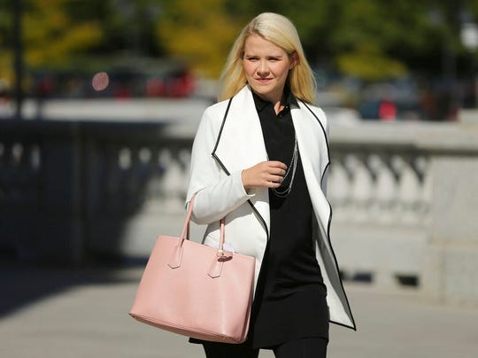 "In this Sept. 13, 2018, file photo, Elizabeth Smart arrives for a news conference in Salt Lake City. Utah kidnapping and rape survivor Smart says she was sexually assaulted on an airplane last year. Smart said on ""CBS This Morning"" Thursday, Feb. 6, 2020, that she was sleeping when she felt someone's hand rubbing her inner thigh."