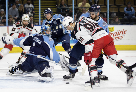 Grand Rapids center Joe Veleno takes a shot against Milwaukee on Wednesday in AHL action.
