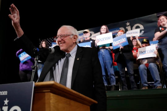 Democratic presidential candidate Sen. Bernie Sanders, I-Vt., waves during a campaign rally, Wednesday, Feb. 5, 2020, in Derry, N.H.