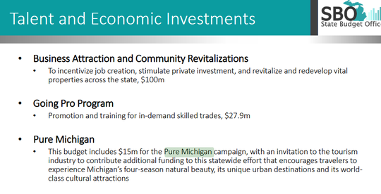 Gov. Gretchen Whitmer's budget proposal for Fiscal Year 2021 presented on Thursday funds the Pure Michigan tourism campaign and provides $100 million in funding for business attraction and community revitalization efforts.