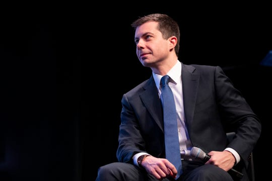 Democratic presidential candidate former South Bend, Ind., Mayor Pete Buttigieg speaks during the New Hampshire Youth Climate and Clean Energy Town Hall, Wednesday, Feb. 5, 2020, in Concord, N.H.