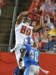 Including tight end O.J Howard (80) could sweeten an offer from the Tampa Bay Buccaneers for the Lions' No. 3 overall pick.