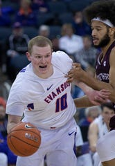 Evansville's Evan Kuhlman (10) is guarded by Southern Illinois' Barret Benson (40) during their game at Ford Center Wednesday night, Feb. 5, 2020.