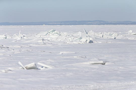 Piles of broken ice from previous ice shoves stick up from Lake Winnebago Thursday, February 6, 2020 off of Fisherman's Road on the east side of Lake Winnebago. Doug Raflik/USA TODAY NETWORK-Wisconsin