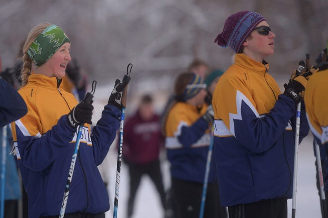 The Poudre School District Nordic ski team at practice at City Park Nine Golf Course on Tuesday, Feb. 4, 2020. It was the first time the team had skied on snow in Fort Collins in more than a month.