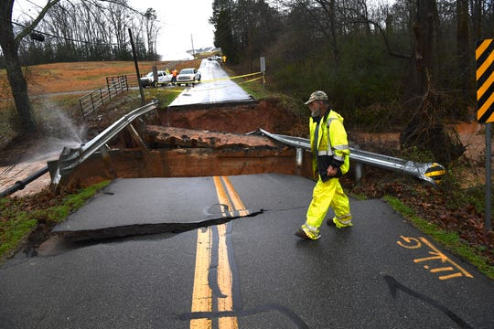 Shackleburg Road near Martin Road is seen here in Anderson on Thursday, Feb. 6, 2020, where a bridge over Jones Creek has broken. Anderson County Public Works deal with a leaking water line as well.