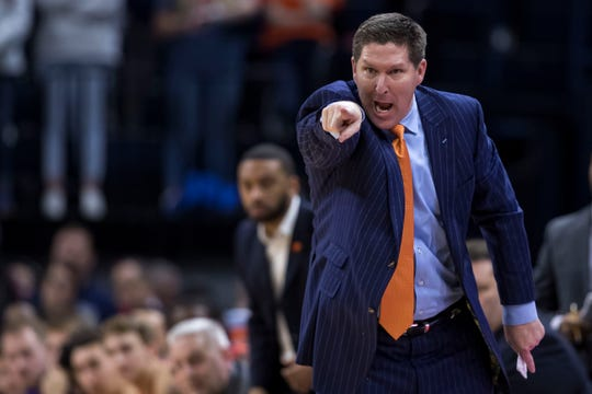 Feb 5, 2020; Charlottesville, Virginia, USA; Clemson Tigers head coach Brad Brownell reacts to a play against the Virginia Cavaliers during the second half at John Paul Jones Arena.
