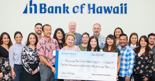 Bank of Hawaii donated $13,661 to the American Red Cross Guam Chapter from proceeds generated by the bank's annual Live Kokua Campaign.  Pictured from left,  Churita Quinones; Desiree Braga; Amy Aguigui; Vincent Perez, Jr.; Mark Tokito, senior vice president, Bank of Hawaii and Red Cross board member; Rita Jugo; Chita Blaise, CEO, Guam Chapter; Brian Bliss; Rachalyn Cardines; Erlilnda Alegre; Jon Barfrede; Jennifer Buemsuceso; Vivian Quinata; Myke Santos; Jocelyn Dungca, Tress Paternia and Bernard Babasa.