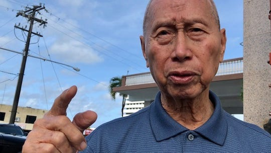 World War II survivor Francisco LG. Manibusan, 87, says the Japanese forced him, as a child, to do manual labor by helping to build an airstrip. He said despite the hardships, he's thankful that at least one Japanese soldier gave them some break time at work. Manibusan was at the Guam War Claims Processing Center on Feb. 6, 2020 to get his advance war reparations, nearly 76 years after Guam's liberation from Japanese occupation.