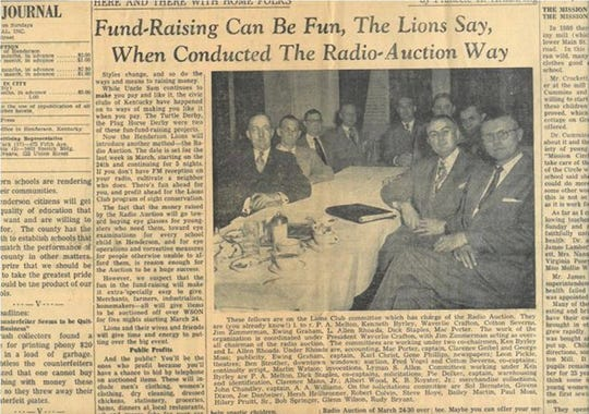 A column by Gleaner and Journal Editor Francele Armstrong explained the concept of the first-ever week-long radio auction on WSON-FM by the Henderson Lions Club in March 1952. The fundraising auction switched to cable TV in 1975. The 68th annual auction Feb. 10-15 will take place on cable TV, online, on Facebook and, for the final night, at a live ticketed event at Rookies Restaurant and Sports Bar.
