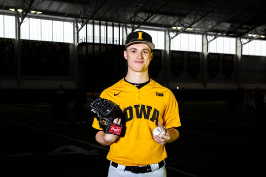 Iowa pitcher Jack Dreyer poses for a photo during Hawkeye baseball media day, Thursday, Feb. 6, 2020, at the University of Iowa Indoor Practice Facility in Iowa City, Iowa.