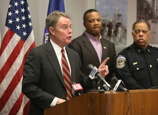 Mayor Joe Hogsett addresses media on Thursday, Feb. 6, at the City-County Building during a press conference regarding a shooting that left four people dead on Indianapolis' far-east side.