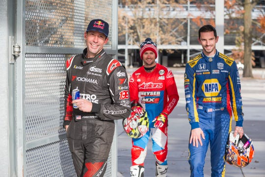 """Travis Pastrana, Gregg Duffy and Alexandar arrive for """"Keys to the Track"""" at Indianapolis Motor Speedway on Nov. 13, 2019."""