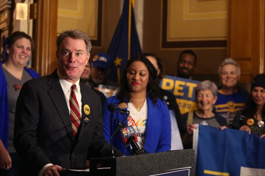 Mayor Joe Hogsett announced his endorsement of Pete Buttigieg for president Thursday, Feb. 6, before submitting over 8,300 signatures to place Buttigieg on Indiana's Democratic primary ballot at the Indiana Statehouse.