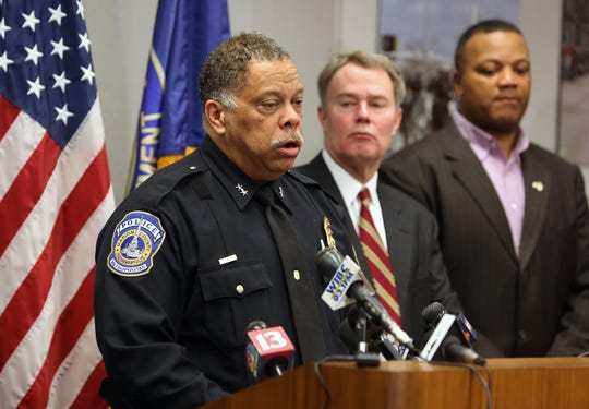 IMPD Chief Randal Taylor addresses media on Thursday, Feb. 6, at the City-County Building during a press conference regarding a shooting that left four people dead on Indianapolis' far-east side.