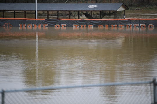 Powell High's baseball field will have to be repaired again after flooding for the second year in a row. Last year's flooding caused about $20,000 in damage.