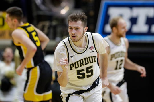 Purdue guard Sasha Stefanovic (55) celebrates a basket against Iowa during the first half of an NCAA college basketball game in West Lafayette, Ind., Wednesday, Feb. 5, 2020. (AP Photo/Michael Conroy)