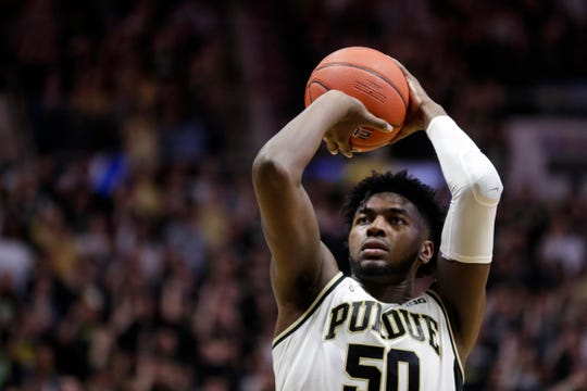Purdue forward Trevion Williams (50) shoots a free throw against Iowa during the second half of an NCAA college basketball game in West Lafayette, Ind., Wednesday, Feb. 5, 2020. Purdue defeated Iowa 104-68. (AP Photo/Michael Conroy)