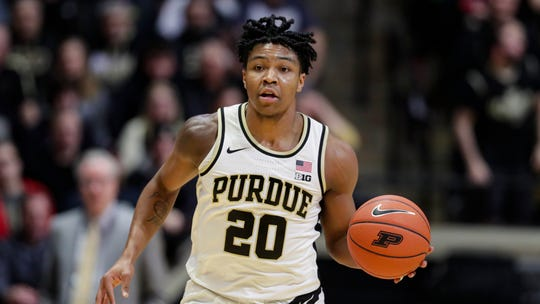 Purdue guard Nojel Eastern (20) plays against Iowa during the second half of an NCAA college basketball game in West Lafayette, Ind., Wednesday, Feb. 5, 2020. Purdue defeated Iowa 104-68. (AP Photo/Michael Conroy)