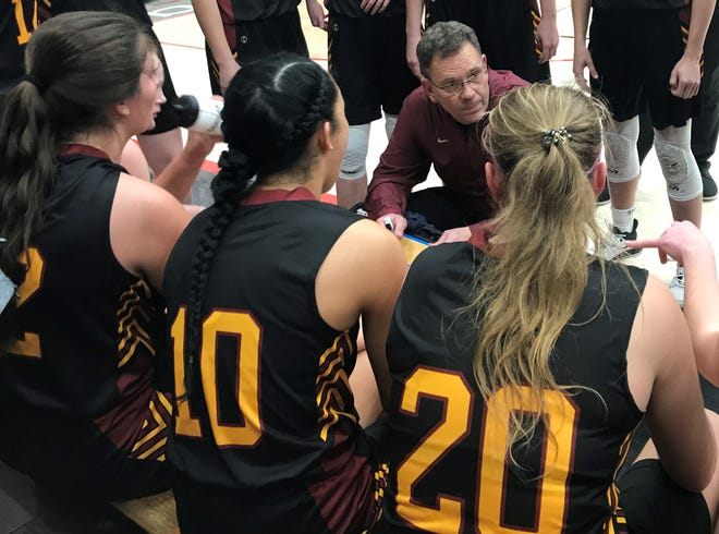 McCutcheon girls basketball coach Jeff Knoy talks to his team in the final minute of a 48-43 upset over Harrison in Wednesday's sectional at Logansport.