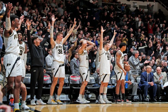 Feb 5, 2020; West Lafayette, Indiana, USA; Purdue Boilermakers bench reacts after a made three point shot against the Iowa Hawkeyes during the second half at Mackey Arena. Mandatory Credit: Brian Spurlock-USA TODAY Sports