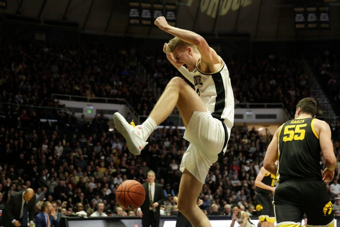 Purdue center Matt Haarms (32) reacts after dunking during the second half of a NCAA men's basketball game, Wednesday, Feb. 5, 2020 at Mackey Arena in West Lafayette.
