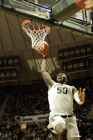 Purdue forward Trevion Williams (50) goes up for a layup during the first half of a NCAA men's basketball game, Wednesday, Feb. 5, 2020 at Mackey Arena in West Lafayette.