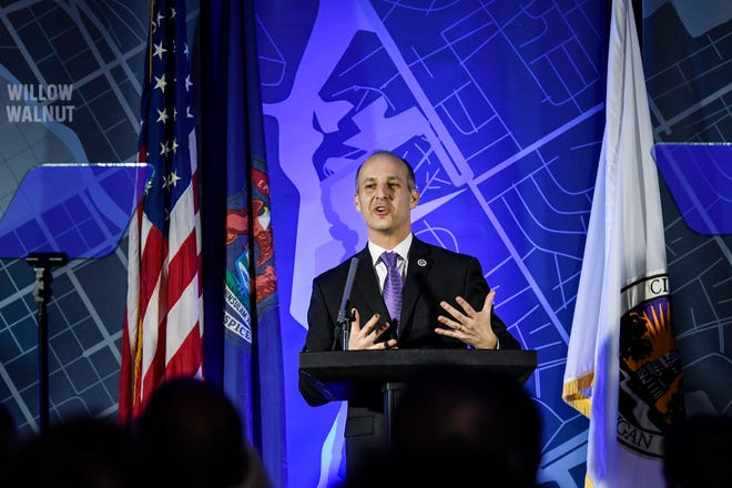 Mayor Andy Schor delivers his State of the City address on Wednesday, Feb. 5, 2020, at The Abigail Apartments in Lansing.