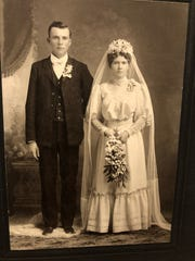 This is one of three wedding pictures David Marshall found among the possessions of his late aunt.