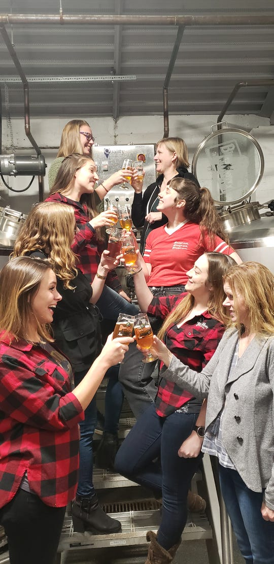 The Pink Boots Society's Collaboration Brew Day is Sunday at Black Husky Brewing. Members of the Pink Boots Collaboration include, top row from left, Katie Zancig and Anastasia Alto. Second row is Dria Sedar, left, and Sam Danen. Third row is Steph Smith, left, and Devon Rowley. Bottom row is Leslie Bychinski , left, and Toni Eichinger.