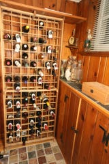 The wine cellar of homeowners Nancy and Tom Wilke has room for a large collection.
