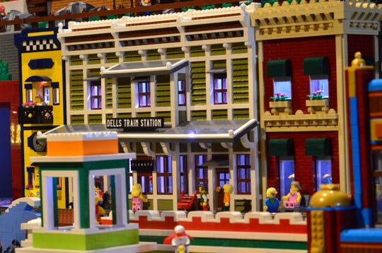 A Dells train station is one of the buildings Paul Hetherington built in his Lego village at Buffalo Phil's Pizza & Grille in Wisconsin Dells.