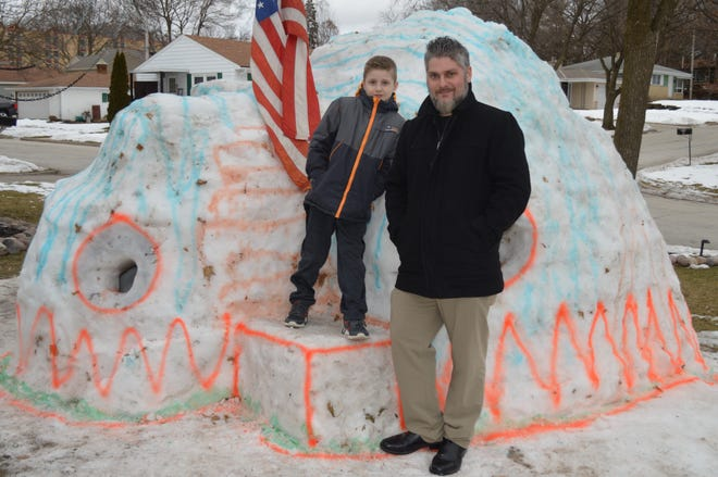 Wauwatosa father and son Joe and Joey Kralspent about 30 hours building this snow fort this year.