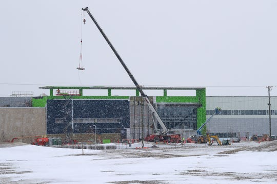 Work continues at Foxconn Technology Group's manufacturing complex in Mount Pleasant.