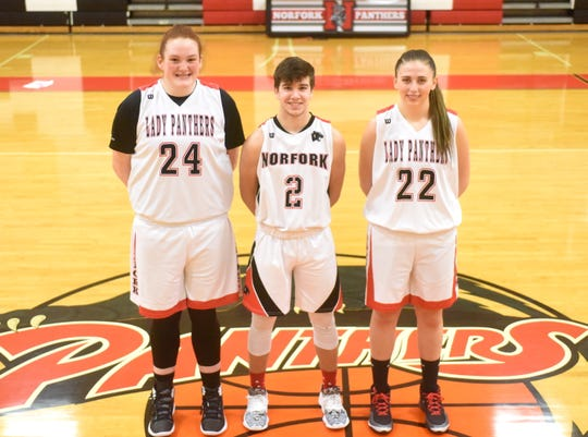 Norfork High School basketball standouts Hannah Bryant (from left), Tyler Sorters and Mackynzie Rangel all three have recently joined the 1,000-point club for their careers.