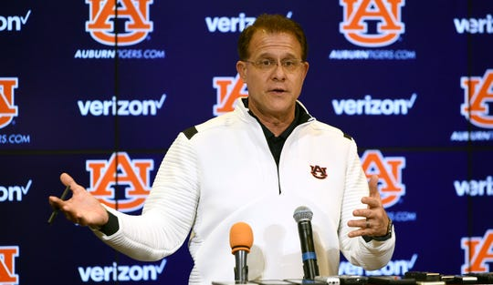 Auburn coach Gus Malzahn speaks to reporters at a press conference on Wednesday, Feb. 5, 2020 in Auburn, Ala.