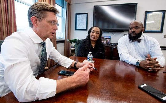 State Superintendent of Education Eric Mackey talks about intervention as Montgomery Public School Superintendent Ann Roy Moore and Chief Administrative Officer Terry Roller look on in Montgomery, Ala., on Thursday February 6, 2020.