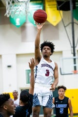 Park Crossing's Jalen Taylor (3) shoots against Lanier in Class 6A, Area 4 tournament action at Carver High School in Montgomery, Ala., on Wednesday February 5, 2020.