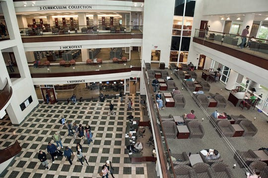 This file photo shows the interior of James E. Walker Library's first-floor atrium taken from a fourth-floor vantage point.