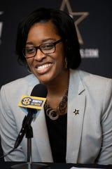 Candice Lee is introduced as Vanderbilt's interim athletic director at Memorial Gym Wednesday, Feb. 5, 2020 in Nashville, Tenn.