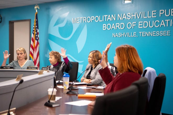 The Nashville school board votes during a Feb. 6 meeting.