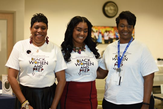 (Left to right) Dielda Robertson, Deidra Jessie-Hill, Danette Brown stand for a photo at the Black Women and PrEP campaign event organized by the Louisiana Health Hub.