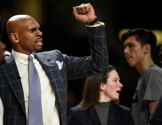 Vanderbilt head coach Jerry Stackhouse celebrates with his team late in the second half as they defeat LSU 99 to 90 at Memorial Gym Wednesday, Feb. 5, 2020 in Nashville, Tenn.