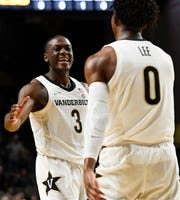 Vanderbilt guard Maxwell Evans (3) congratulates guard Saben Lee (0) after his basket against LSU during the first half at Memorial Gym Wednesday, Feb. 5, 2020 in Nashville, Tenn.